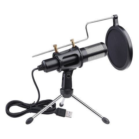 USB Microphone Tripod Stand Set for Game Chat Studio Black