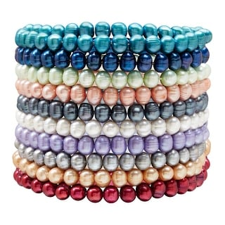 Set of 10 6-7 mm Ringed Freshwater Pearl Multi-Color Stretch Bracelets