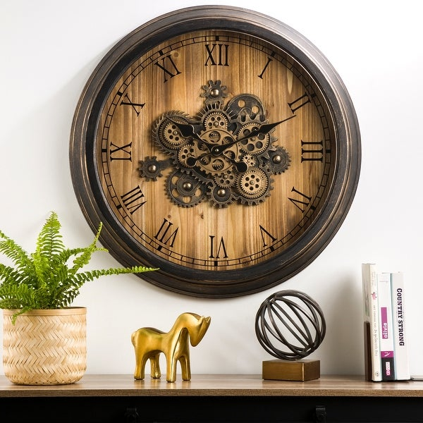 "Glitzhome 27.8""D Vintage Industral Oversized Wooden/Metal Wall Clock with Moving Gears"