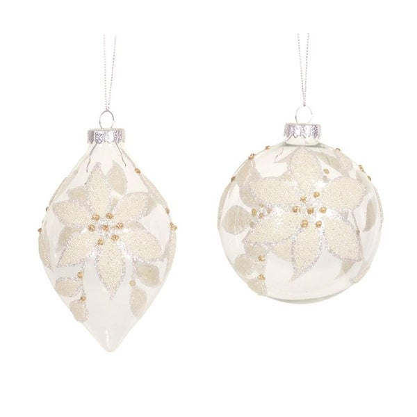 """Set of 6 Lovely Clear & Gold Beaded Flower Glass Ball and Teardrop Ornaments 5"""""""