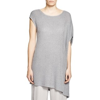 Eileen Fisher Womens Tunic Sweater Linen Ribbed Knit