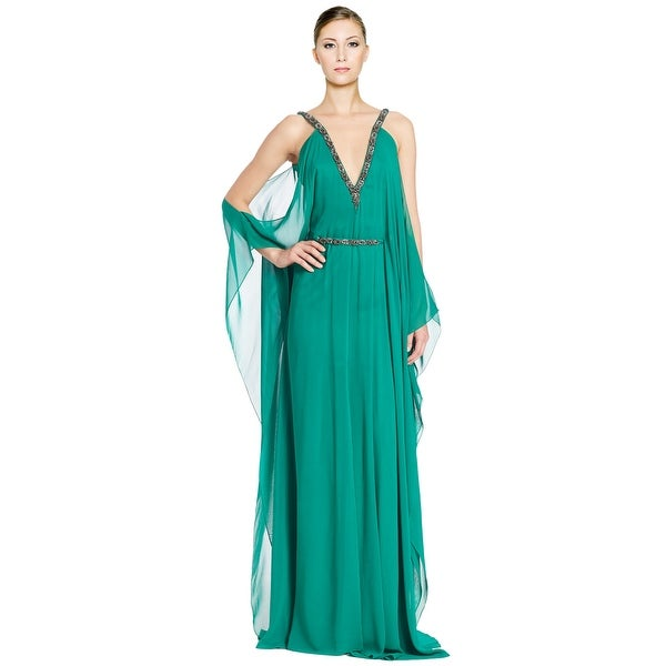 63e97cbb852e Theia Embellished Cold Shoulder Chiffon Silk Caftan Evening Gown Dress - 4