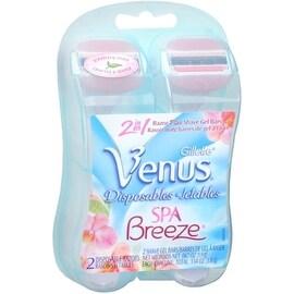 Gillette Venus Spa Breeze 2-in-1 Disposable Razors Plus Shave Gel Bars 2 Each
