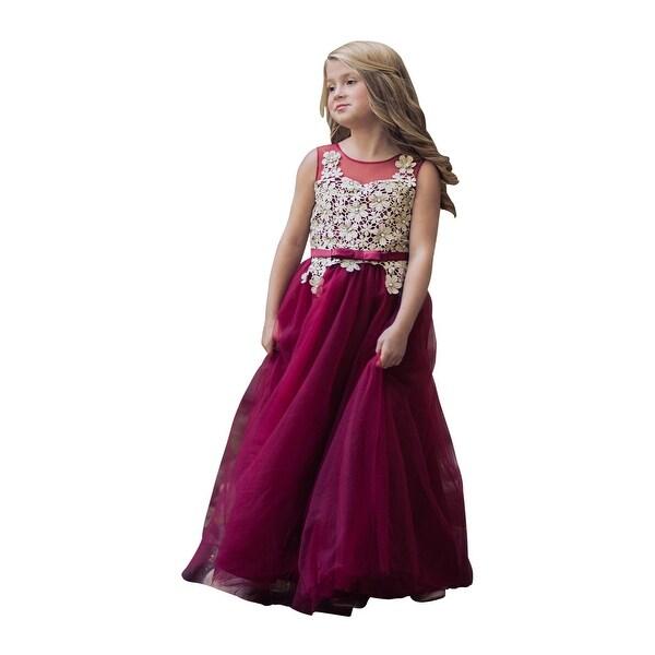 622763509b3 Girls Wine Gold Floral Lace Floor Length Fiona Junior Bridesmaid Dress