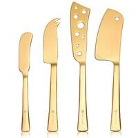 HUFTGOLD 4-Piece Cheese Knife Set, Complete Stainless Steel Gold Cheese Cutter Cutlery Set