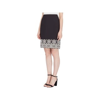 Tahari ASL Womens Pencil Skirt Textured Embroidered