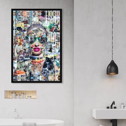 Oliver Gal 'Katy Hirschfeld - LongNight' Fashion and Glam Framed Wall Art Prints Portraits - Gray, Pink