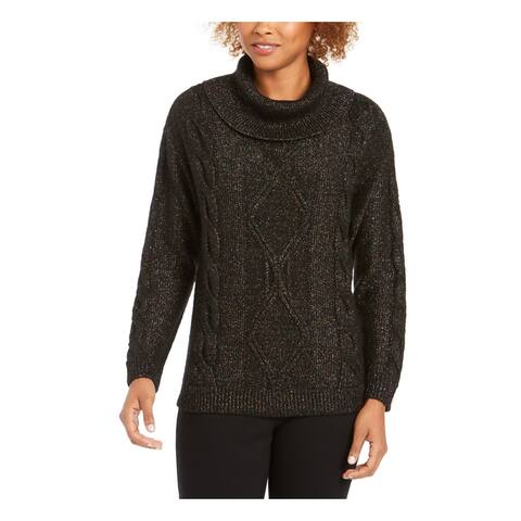 CHARTER CLUB Womens Black Speckle Long Sleeve Sweater Size L