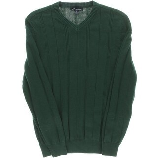 John Ashford Mens V-Neck Ribbed Pullover Sweater - S