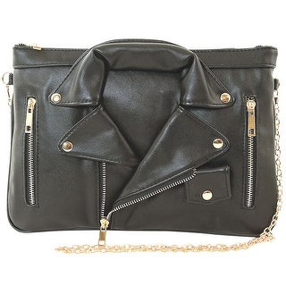 Women's Black Leather Jacket Crossbody Bag - MEDIUM