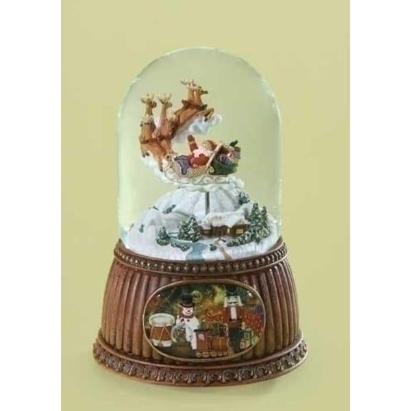 2 Musical Rotating Santa Claus in Sleigh Christmas Water Globe Glitterdomes - brown
