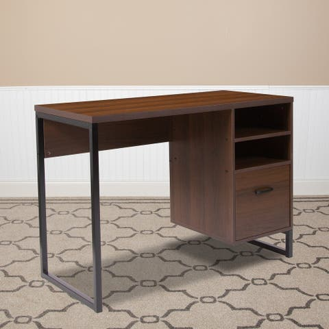 Rustic Coffee Wood Grain Finish Computer Desk with Metal Frame