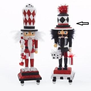 "13"" Hollywood Black, Red and White Glitter Base Wooden Christmas Nutcracker"
