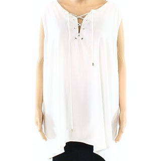 Calvin Klein NEW White Ivory Womens Size 2X Plus Lace-Up Cami Top