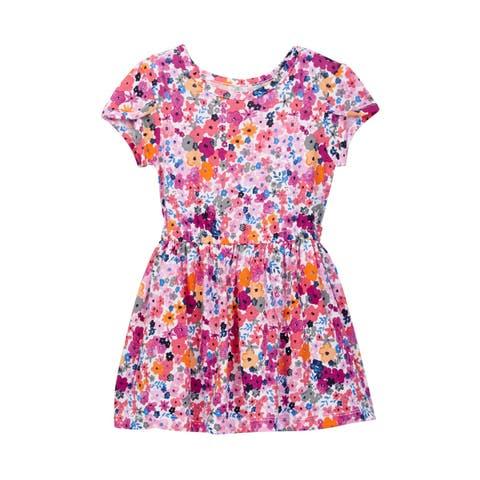 Joe Fresh Girls Dress Orange Pink Size 4 Floral Fit & Flare Knit Shirred 772