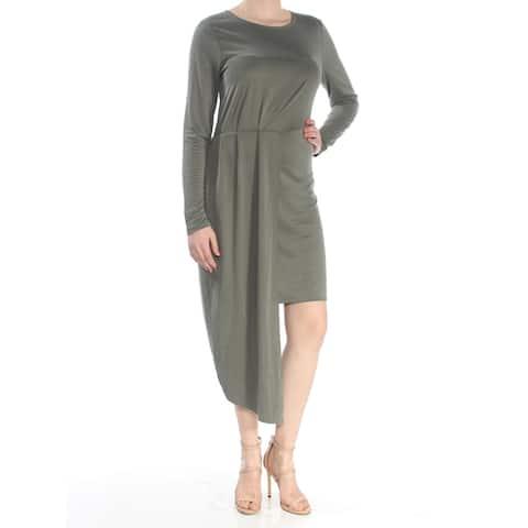 BAR III Womens Green Long Sleeve Tea Length Cocktail Dress Size M
