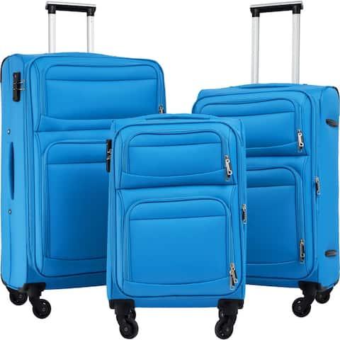 Softside Luggage Expandable 3 Piece Set Suitcase