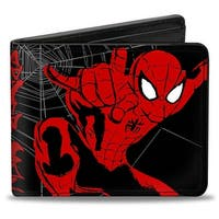 Ultimate Spider Man Spider Man Graffiti Action Poses Spider web Sketch Bi-Fold Wallet - One Size Fits most