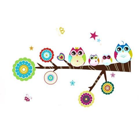 Nursery School Cartoon Owl Pattern Wall Sticker Decal Ornament