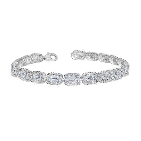 14k White Gold Oval-cut Swarovski and Cubic Zirconia Tennis Bracelet