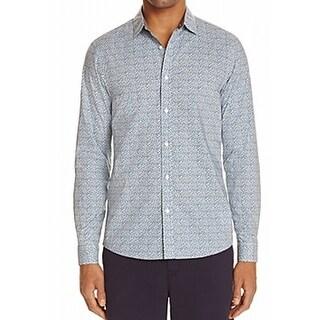 Michael Kors NEW Blue Mens Size 2XL Slim-Fit Printed Button Down Shirt