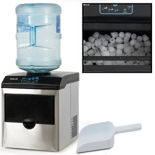 Della 2 in 1 Water Dispenser w/ Built-In Ice Maker Machine up to 40lbs, Stainless Steel