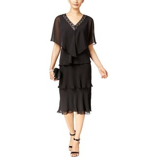 SL Fashions Womens Dress With Cardigan Tiered Beaded