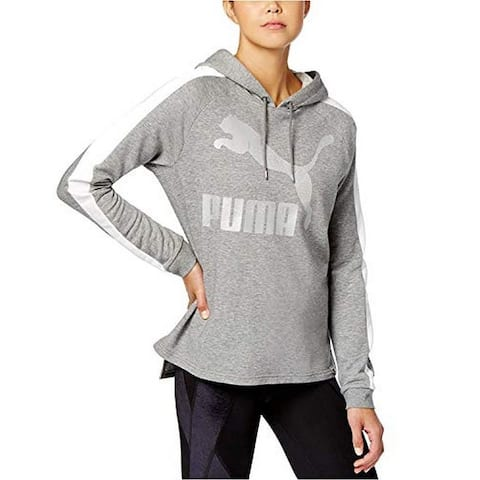 PUMA Women's French Terry Logo Hoodie, (Gray Small)