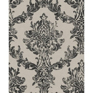Graham and Brown 101470 56 Square Foot - Opal Damask Charcoal and Gold - Non-Pasted Vinyl Wallpaper