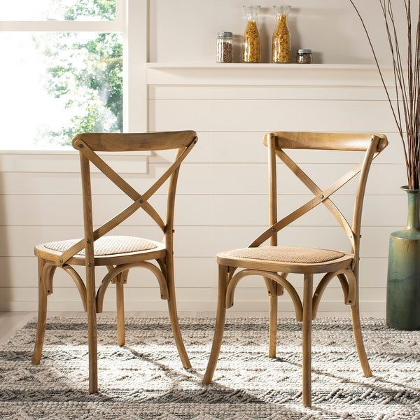 Safavieh Franklin X-Back Weathered Oak Dining Chair (Set of 2)