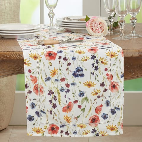 Hemstitch Table Runner With Floral Design