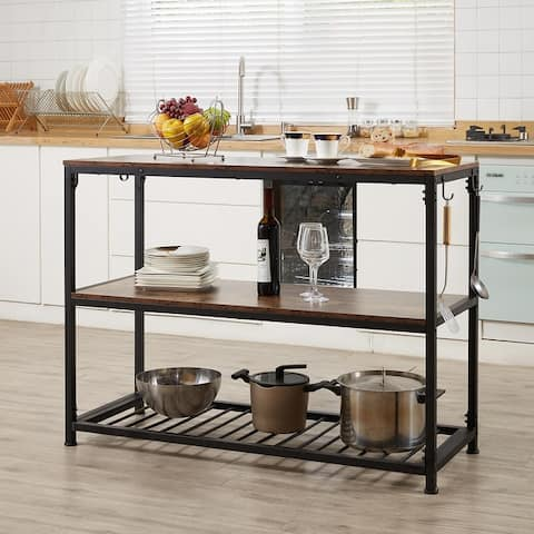 Multifunction Kitchen Island with Undershelves and Side Hooks