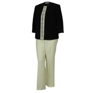 Tahari Women's Elegant Jacket Pant Suit Set - black/cloud white