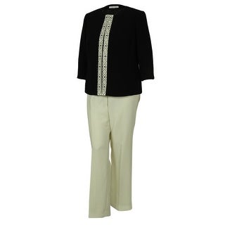 Tahari Women's Elegant Jacket Pant Suit Set - black/cloud white - 18