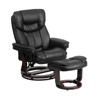 Offex Contemporary Black Leather Recliner and Ottoman with Swiveling Mahogany Wood Base [OF-BT-7821-BK-GG]
