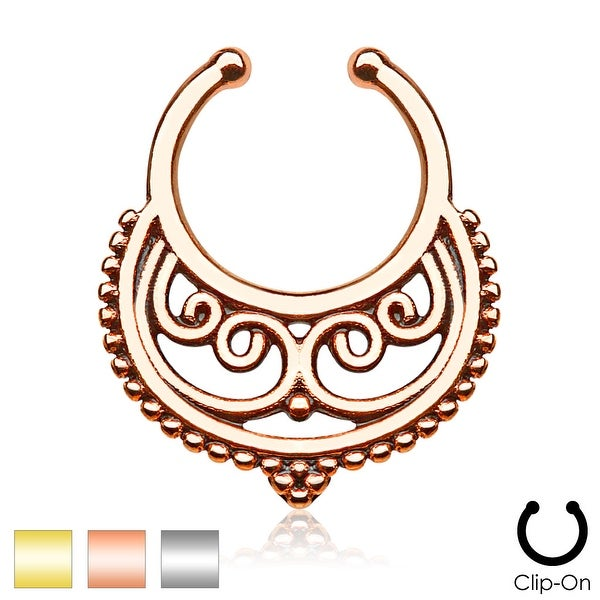 Crescent with Swirls Inside Non-Piercing Septum Hanger (Sold Ind.)