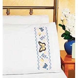 """Butterflies - Stamped Cross Stitch Pillowcase Pair 20""""X30"""""""