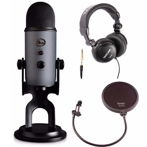 Blue Microphones Yeti USB Slate Microphone with Headphones and Knox Pop Filter