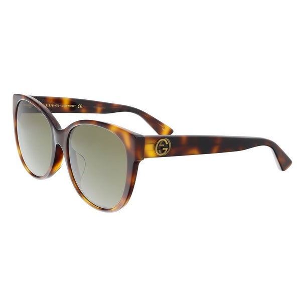 383cfd1770b8e Shop Gucci GG0097SA 002 Havana Cat Eye Sunglasses - Free Shipping ...