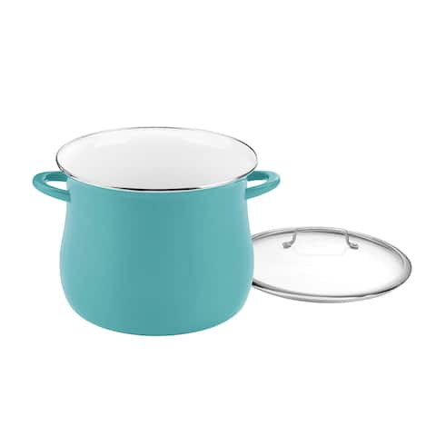 Cuisinart EOSB166-30TL Enamel on Steel Stockpot with Cover, 16 quart, Turquoise