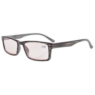 Eyekepper UV Protection,Anti Glare/Blue Rays,Reading Glasses Amber Tinted Lenses Men Women Grey +0.5