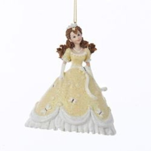 """4.25"""" Pretty as a Princess Marcella in Yellow Gown Christmas Ornament"""