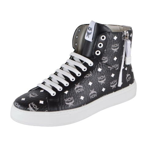 MCM Men's Black White Coated Canvas Visetos High Top Sneakers Shoes 9
