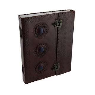 Large Triple Blue Stone Embossed Leather Bound Journal w/Double Swing Clasps - brown