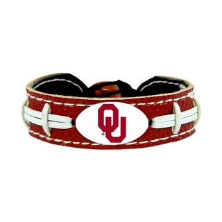 Oklahoma Sooners Team Color NCAA Gamewear Leather Football Bracelet