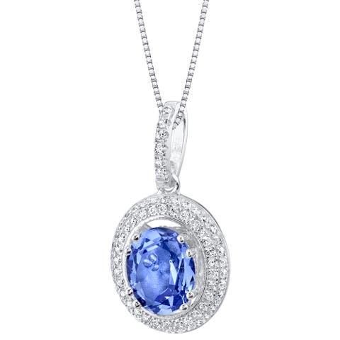 Oravo Simulated Tanzanite Sterling Silver Harmony Pendant Necklace - Purple