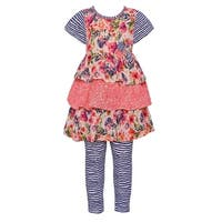 Bonnie Jean Little Girls Navy Floral Print Tiered 2 Pc Legging Outfit