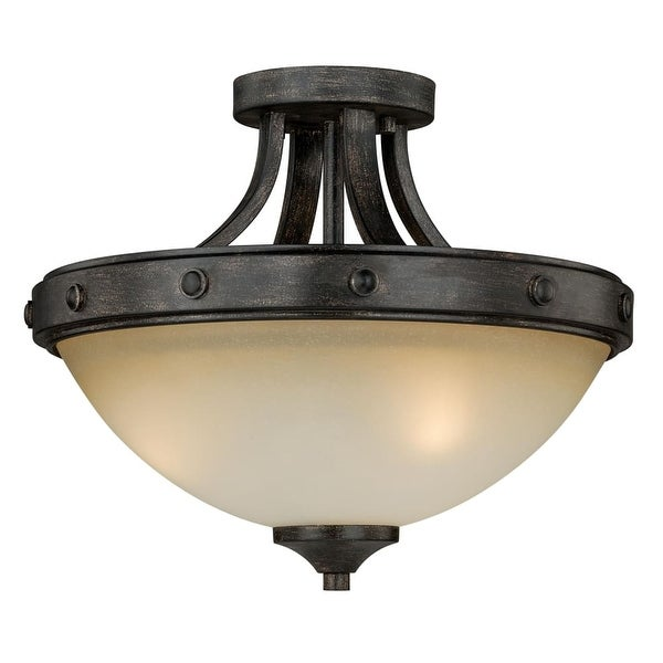 "Vaxcel Lighting C0077 Halifax 2-Light Semi-Flush Indoor Ceiling Fixture with Frosted Glass Shade - 14.5"" Wide"