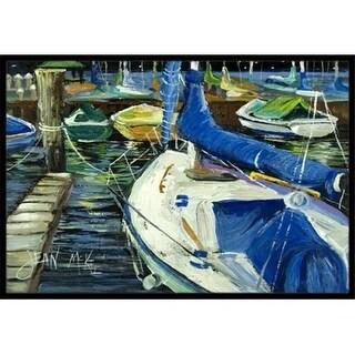 Carolines Treasures JMK1031MAT Night On The Docks Sailboat Indoor & Outdoor Mat 18 x 27 in.