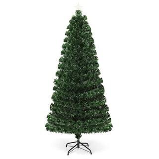 Costway 6Ft Fiber Optic Christmas Tree 225 Multicolor LED Lights - Green